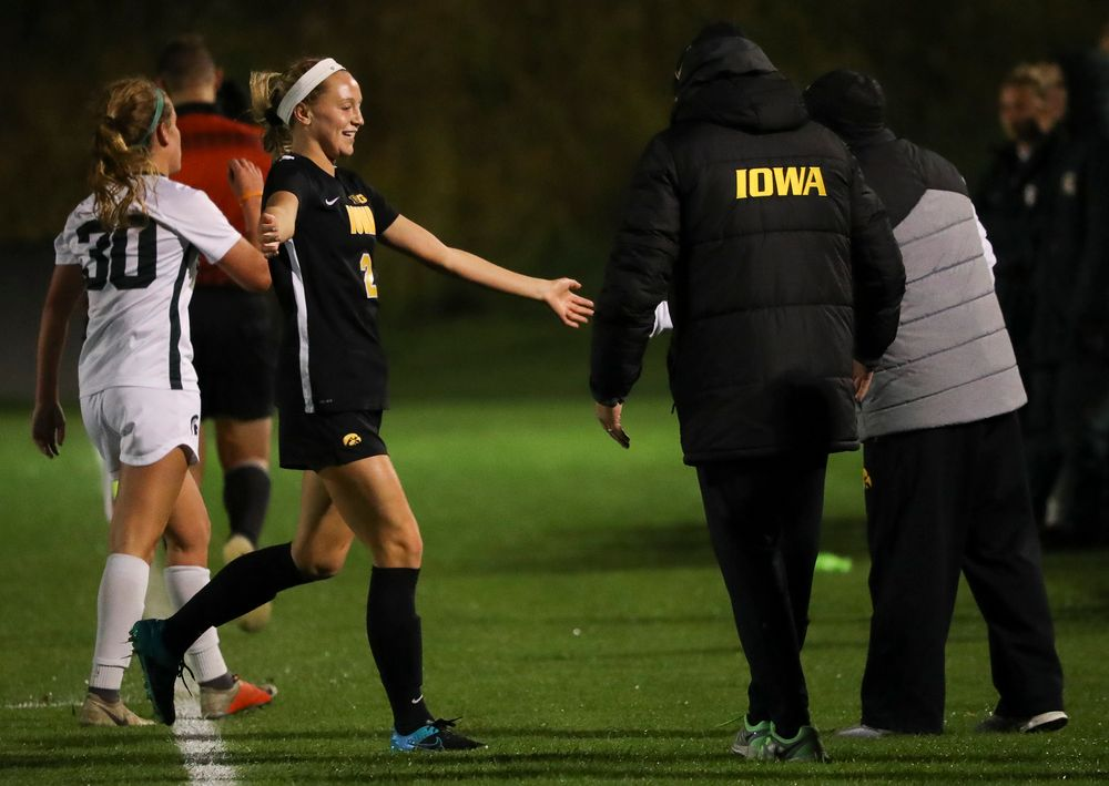 Iowa Hawkeyes midfielder Hailey Rydberg (2) is congratulated as she comes off the field after scoring a goal during a game against Michigan State at the Iowa Soccer Complex on October 12, 2018. (Tork Mason/hawkeyesports.com)