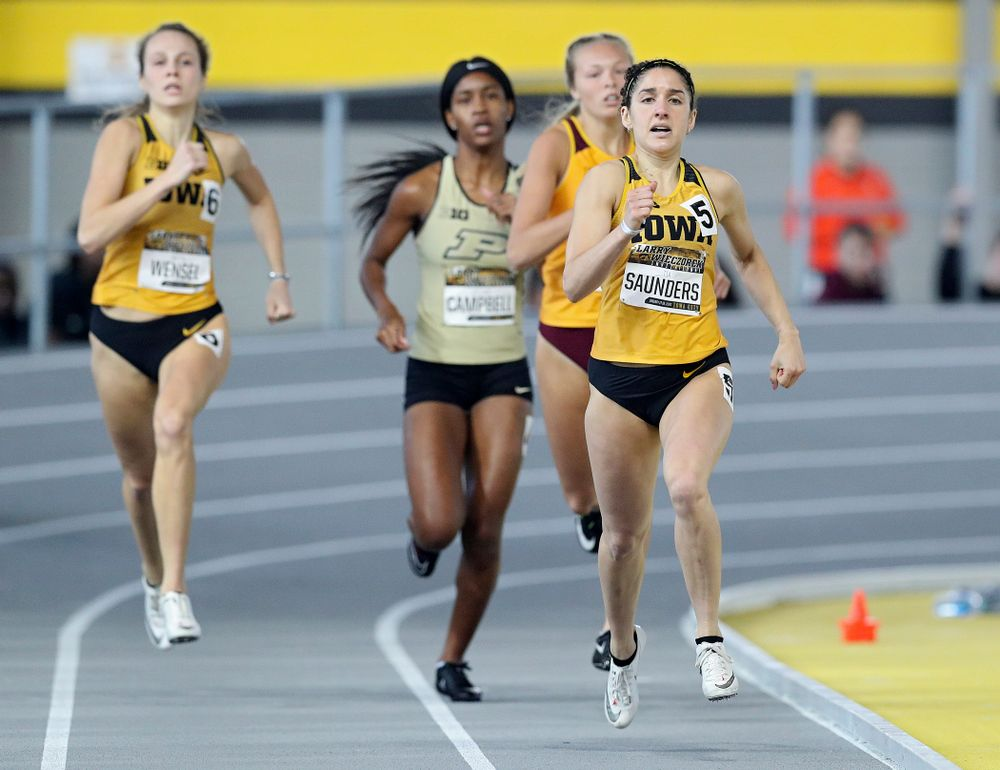 Iowa's Tia Saunders runs the women's 400 meter dash event during the Larry Wieczorek Invitational at the Recreation Building in Iowa City on Saturday, January 18, 2020. (Stephen Mally/hawkeyesports.com)