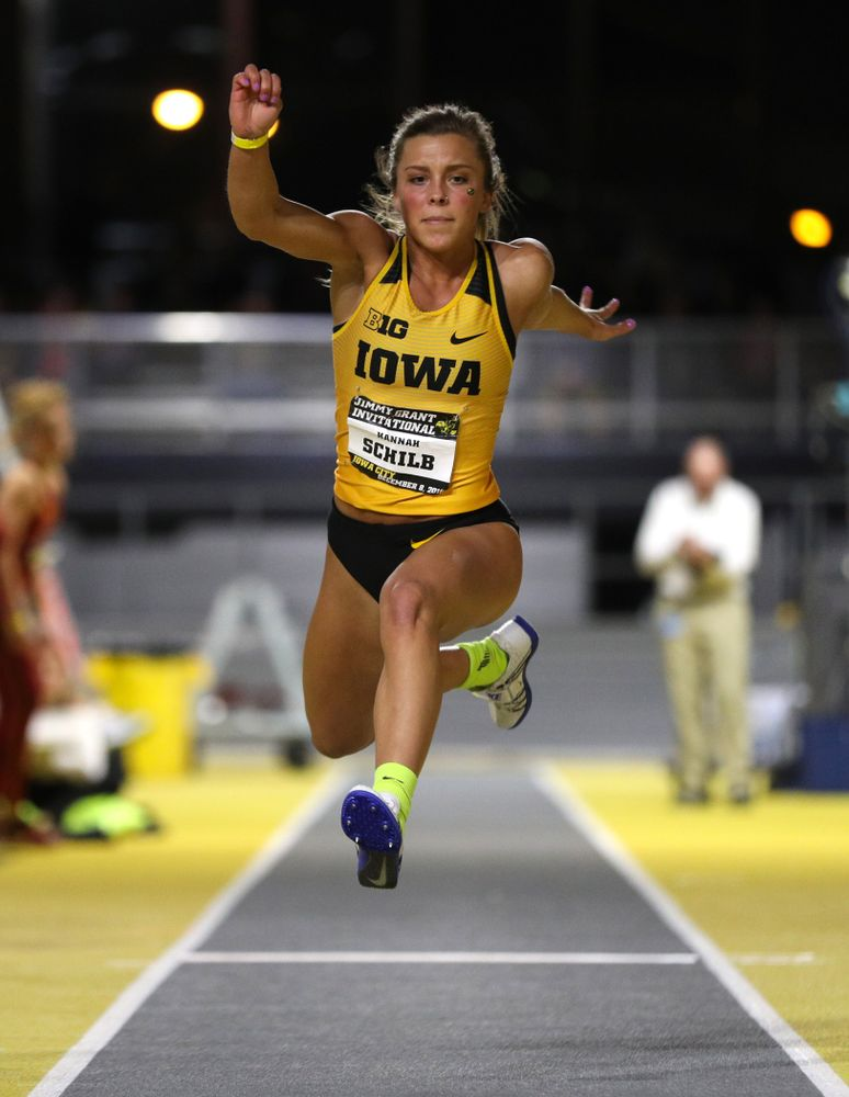 Iowa's Hannah Schilb competes in the triple jump during the Jimmy Grant Invitational Saturday, December 8, 2018 at the Recreation Building. (Brian Ray/hawkeyesports.com)