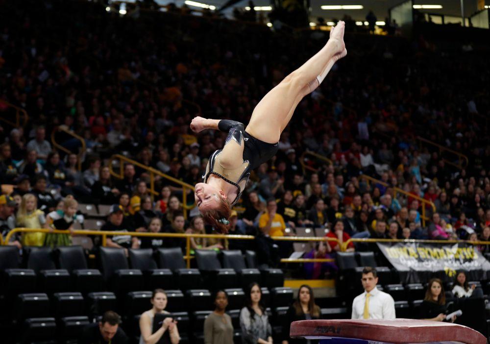 Iowa's Maria Ortiz competes on the vault against the Nebraska Cornhuskers