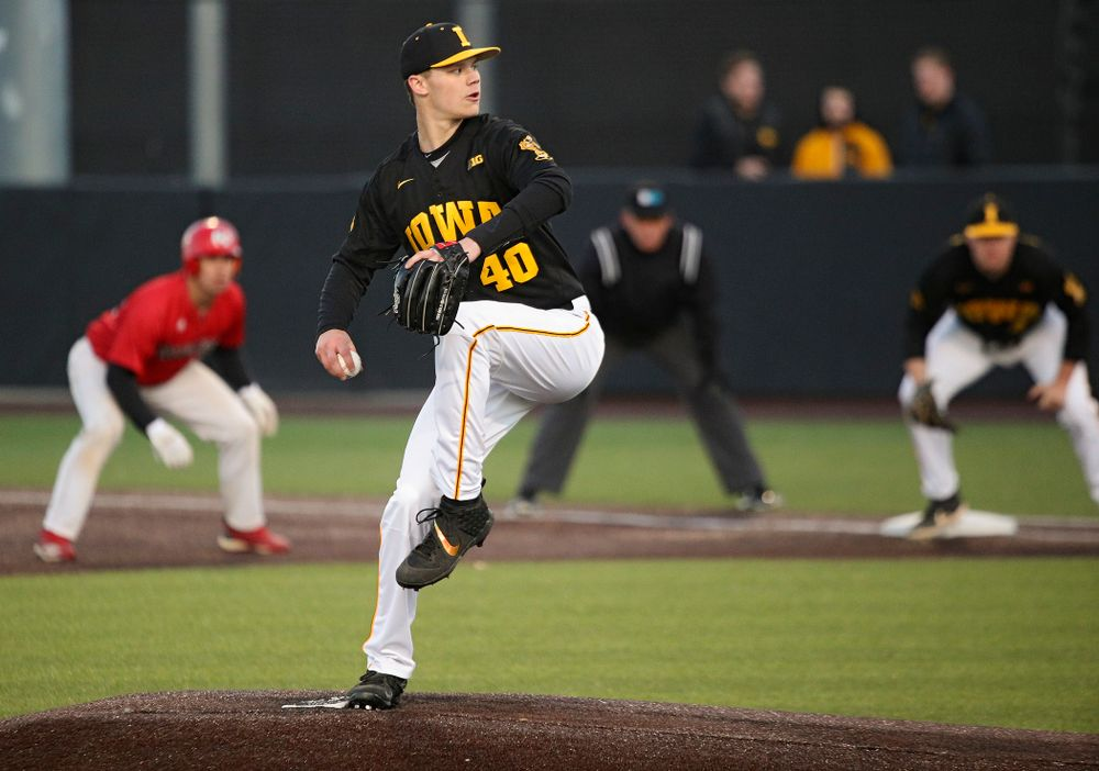 Iowa pitcher Jack Guzek (40) delivers to the plate during the fifth inning of their game at Duane Banks Field in Iowa City on Tuesday, March 3, 2020. (Stephen Mally/hawkeyesports.com)