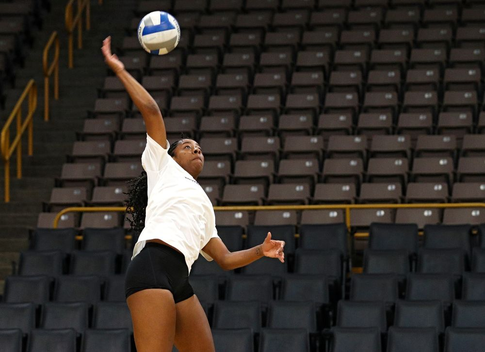 Iowa's Griere Hughes (10) during Iowa Volleyball's Media Day at Carver-Hawkeye Arena in Iowa City on Friday, Aug 23, 2019. (Stephen Mally/hawkeyesports.com)