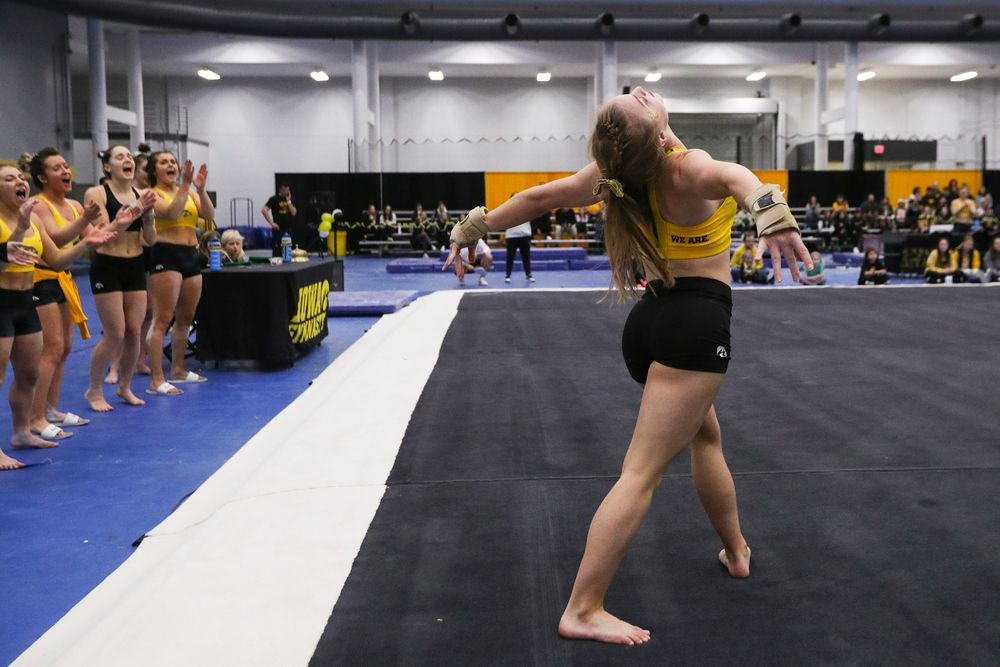 Lauren Guerin performs a floor routine during the Iowa women's gymnastics Black and Gold Intraquad Meet on Saturday, December 7, 2019 at the UI Field House. (Lily Smith/hawkeyesports.com)