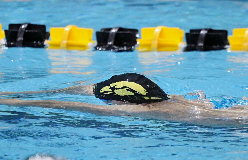Iowa's Dolan Craine swims the men's 50-yard breaststroke event during their meet against Michigan State at the Campus Recreation and Wellness Center in Iowa City on Thursday, Oct 3, 2019. (Stephen Mally/hawkeyesports.com)