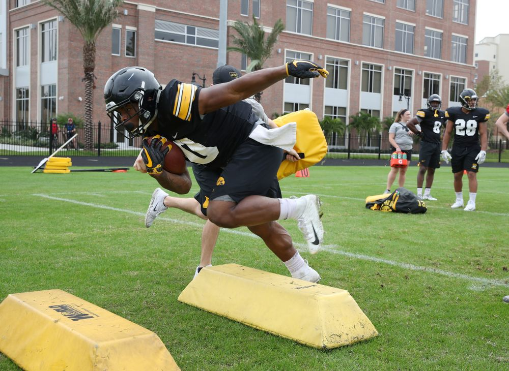 Iowa Hawkeyes running back Mekhi Sargent (10) as the team prepares for the Outback Bowl Saturday, December 29, 2018 at Tampa University. (Brian Ray/hawkeyesports.com)