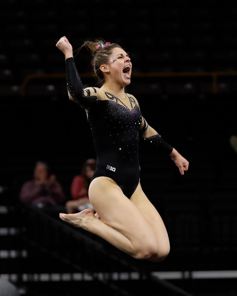 Iowa's Melissa Zurawski competes on the floor