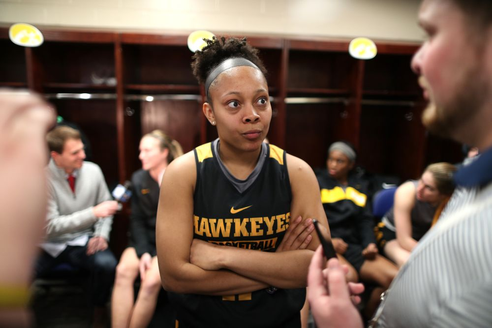 Iowa Hawkeyes guard Tania Davis (11) during practice and media before the regional final of the 2019 NCAA Women's College Basketball Tournament against the Baylor Bears Sunday, March 31, 2019 at Greensboro Coliseum in Greensboro, NC.(Brian Ray/hawkeyesports.com)