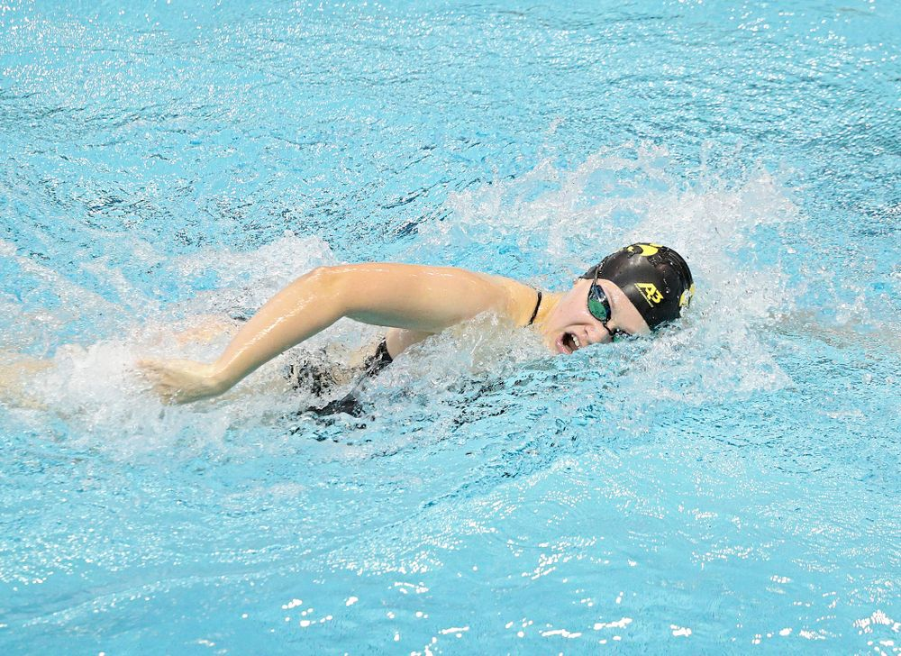 Iowa's Lauren McDougall swims the women's 200-yard freestyle event during their meet against Michigan State and Northern Iowa at the Campus Recreation and Wellness Center in Iowa City on Friday, Oct 4, 2019. (Stephen Mally/hawkeyesports.com)