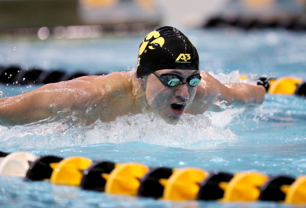 IowaÕs Michael Tenney competes in the 200 yard butterfly against Notre Dame and Illinois Saturday, January 11, 2020 at the Campus Recreation and Wellness Center.  (Brian Ray/hawkeyesports.com)