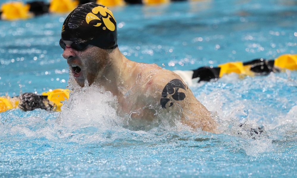 Iowa's Tanner Nelson competes in the 400-yard medley relay during a meet against Michigan and Denver at the Campus Recreation and Wellness Center on November 3, 2018. (Tork Mason/hawkeyesports.com)