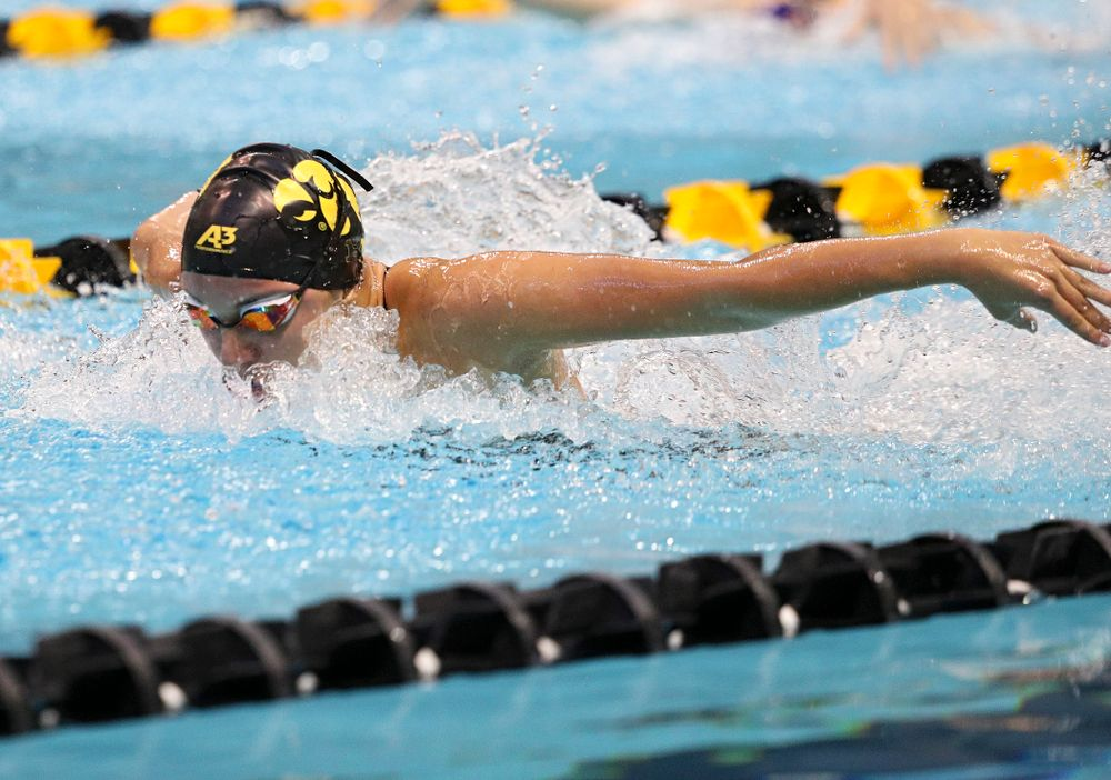 Iowa's Samantha Sauer swims the butterfly section of the women's 200-yard medley relay event during their meet against Michigan State and Northern Iowa at the Campus Recreation and Wellness Center in Iowa City on Friday, Oct 4, 2019. (Stephen Mally/hawkeyesports.com)
