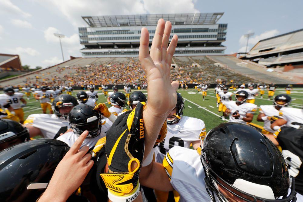 The Iowa Hawkeyes during Kids Day Saturday, August 11, 2018 at Kinnick Stadium. (Brian Ray/hawkeyesports.com)
