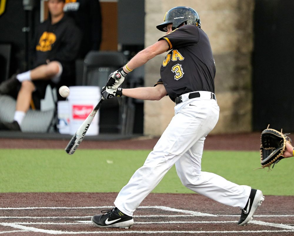 Iowa's Sam Link (3) bats during the sixth inning of the first game of the Black and Gold Fall World Series at Duane Banks Field in Iowa City on Tuesday, Oct 15, 2019. (Stephen Mally/hawkeyesports.com)