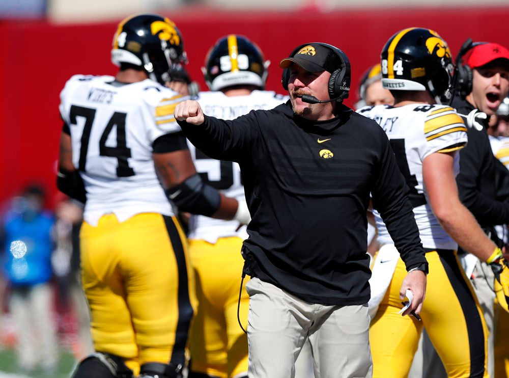 Offesnsive line coach Tim Polasek  against the Indiana Hoosiers Saturday, October 13, 2018 at Memorial Stadium, in Bloomington, Ind. (Brian Ray/hawkeyesports.com)
