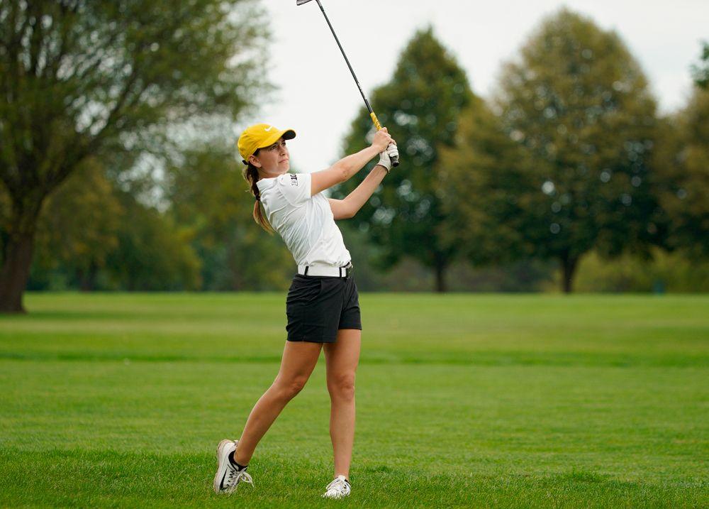 Iowa's Dana Lerner drives a shot during their dual against Northern Iowa at Pheasant Ridge Golf Course in Cedar Falls on Monday, Sep 2, 2019. (Stephen Mally/hawkeyesports.com)