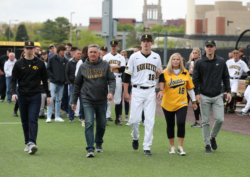 Iowa Hawkeyes Shane Ritter (18) during senior day festivities before their game against Michigan State Sunday, May 12, 2019 at Duane Banks Field. (Brian Ray/hawkeyesports.com)
