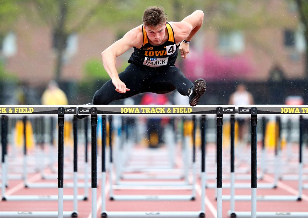 Iowa's Peyton Haack runs the men's 110 meter hurdles in the decathlon event on the second day of the Big Ten Outdoor Track and Field Championships at Francis X. Cretzmeyer Track in Iowa City on Saturday, May. 11, 2019. (Stephen Mally/hawkeyesports.com)