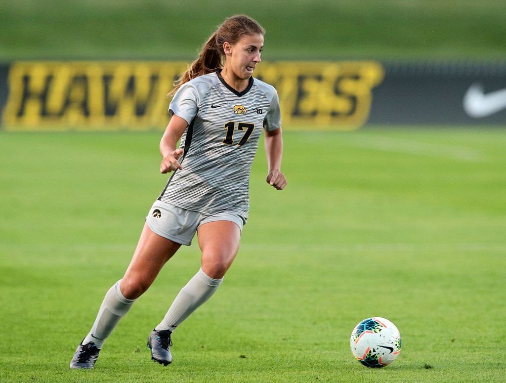 Iowa defender Hannah Drkulec (17) looks to pass during the first half of their match at the Iowa Soccer Complex in Iowa City on Friday, Sep 13, 2019. (Stephen Mally/hawkeyesports.com)
