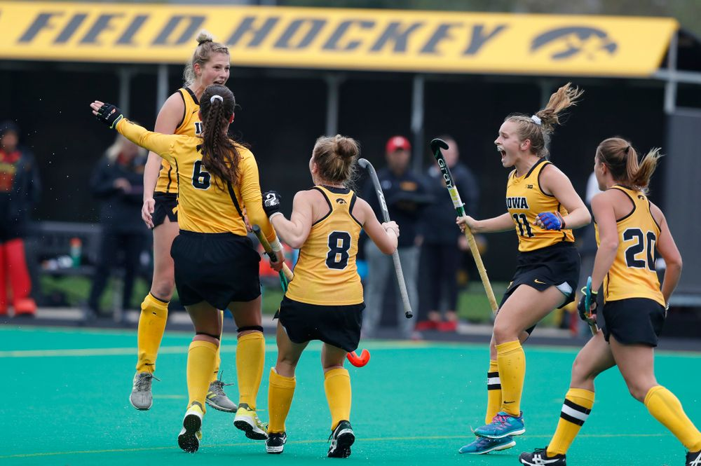 Iowa Hawkeyes Ellie Holley (7) celebrates after scoring against Maryland Sunday, October 14, 2018 at Grant Field. (Brian Ray/hawkeyesports.com)