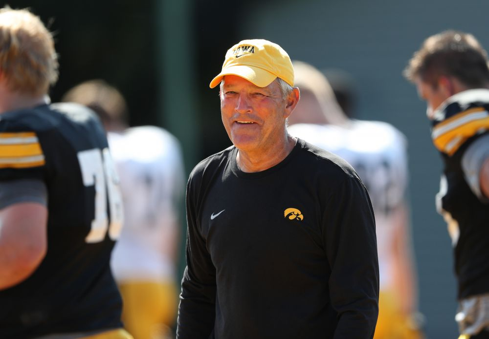 Iowa Hawkeyes head coach Kirk Ferentz during Fall Camp Practice No. 5 Tuesday, August 6, 2019 at the Ronald D. and Margaret L. Kenyon Football Practice Facility. (Brian Ray/hawkeyesports.com)
