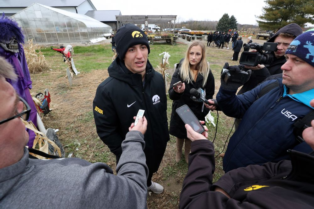 All American Michael Kemerer answers questions from reporters during the teamÕs annual media day Wednesday, October 30, 2019 at Kroul Family Farms in Mount Vernon. (Brian Ray/hawkeyesports.com)