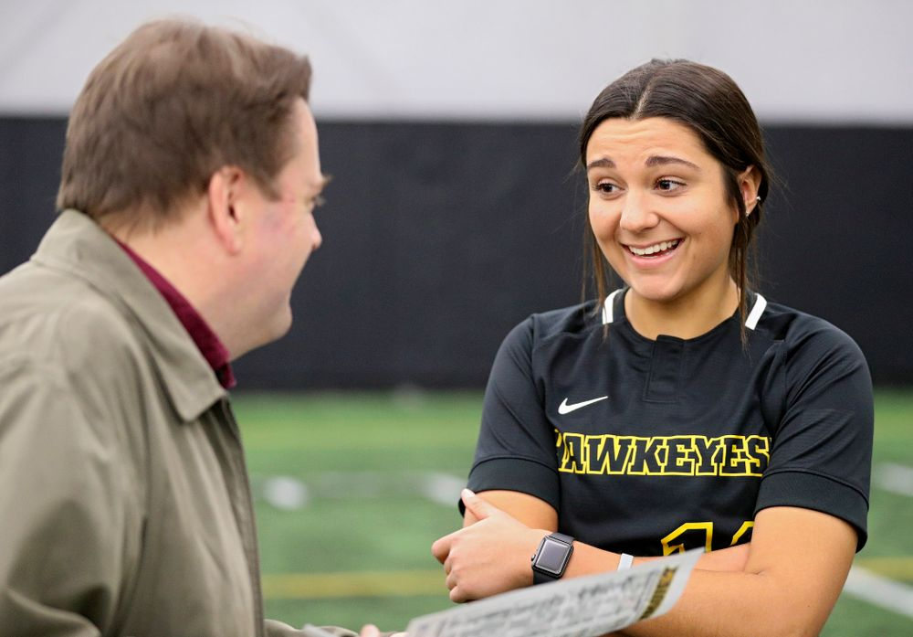 Iowa infielder Nicole Yoder (10) answers questions during Iowa Softball Media Day at the Hawkeye Tennis and Recreation Complex in Iowa City on Thursday, January 30, 2020. (Stephen Mally/hawkeyesports.com)