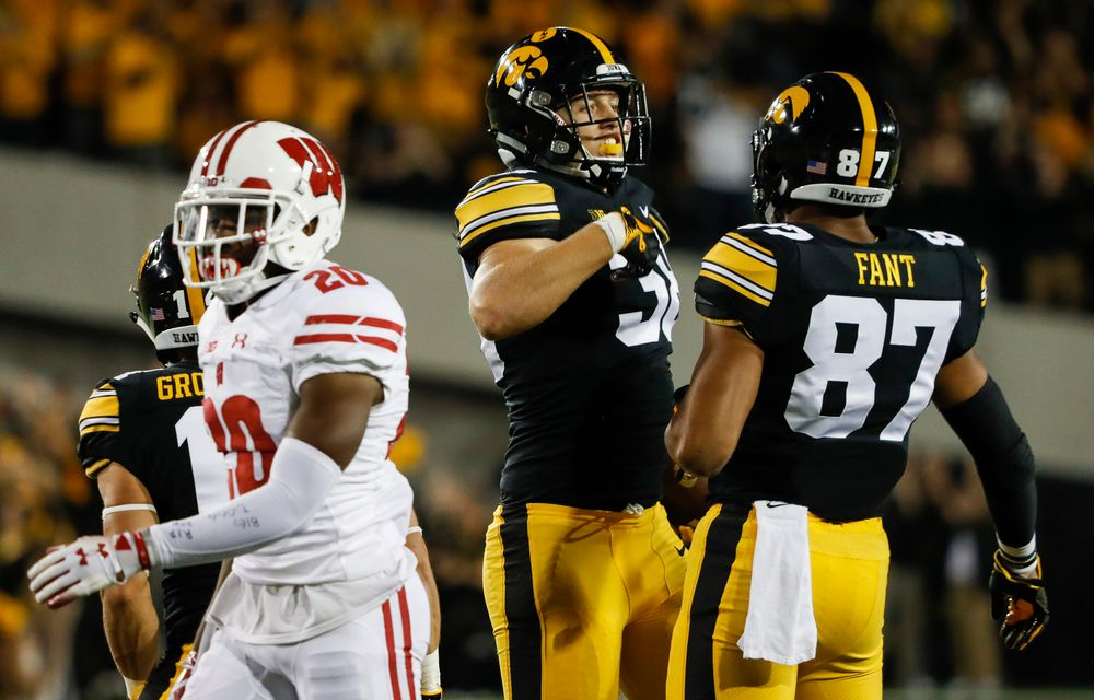 Iowa Hawkeyes tight end T.J. Hockenson (38) reacts after a first down reception during a game against Wisconsin at Kinnick Stadium on September 22, 2018. (Tork Mason/hawkeyesports.com)