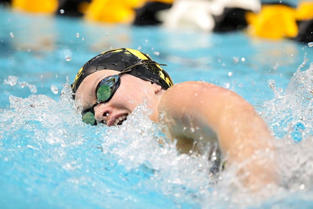 Iowa's Lauren McDougall swims the women's 500 yard freestyle preliminary event during the 2020 Women's Big Ten Swimming and Diving Championships at the Campus Recreation and Wellness Center in Iowa City on Thursday, February 20, 2020. (Stephen Mally/hawkeyesports.com)