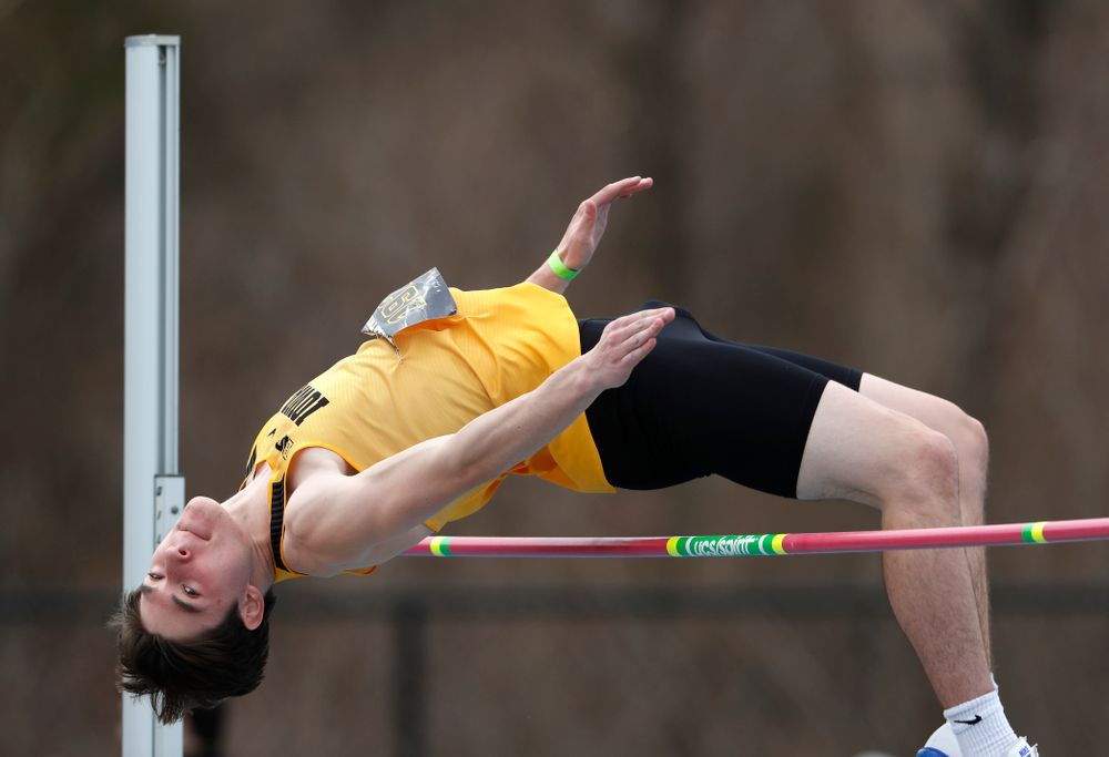 Iowa's Jay Hunt competes in the high jump during the 2018 MUSCO Twilight Invitational  Thursday, April 12, 2018 at the Cretzmeyer Track. (Br