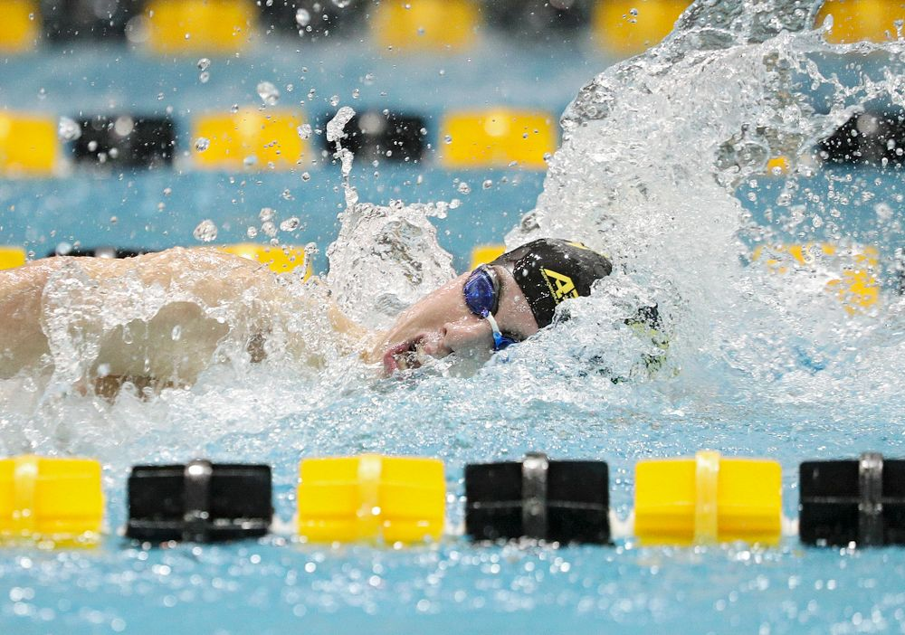 Iowa's Dolan Craine swims the freestyle section of the 100-yard individual medley event during their meet against Michigan State at the Campus Recreation and Wellness Center in Iowa City on Thursday, Oct 3, 2019. (Stephen Mally/hawkeyesports.com)