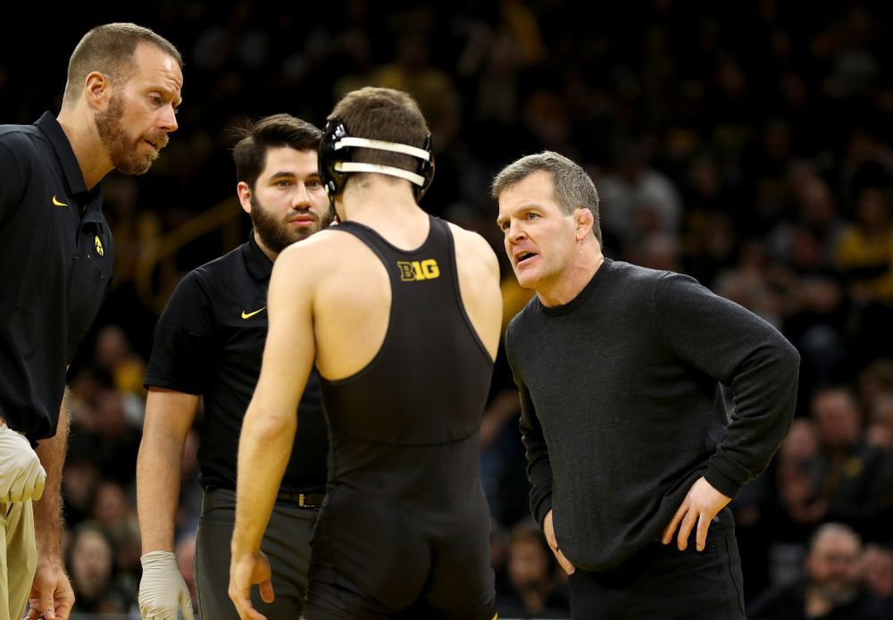 Associate Head Coach Terry Brands as Iowa's Austin DeSanto wrestles Penn State's Roman Bravo-Young at 133 pounds Friday, January 31, 2020 at Carver-Hawkeye Arena. DeSanto Injury defaulted. (Brian Ray/hawkeyesports.com)
