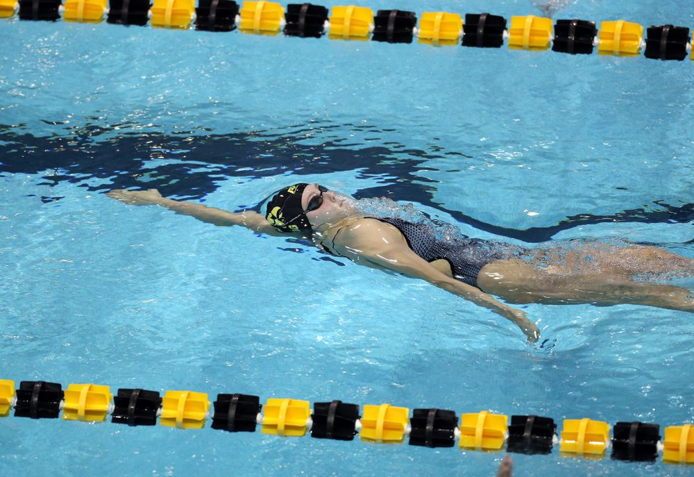 IowaÕs Emilia Sansome swims the 200 yard backstroke against the Michigan Wolverines Friday, November 1, 2019 at the Campus Recreation and Wellness Center. (Brian Ray/hawkeyesports.com)