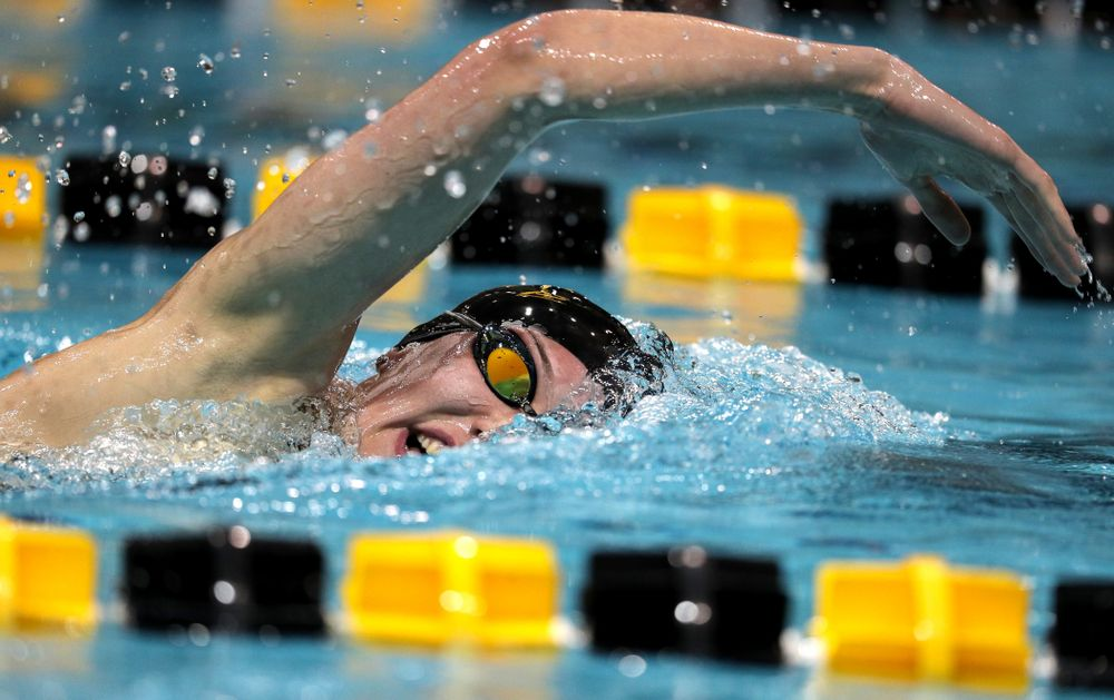 Iowa's Allyssa Fluit swims the 500-yard freestyle against the Iowa State Cyclones in the Iowa Corn Cy-Hawk Series Friday, December 7, 2018 at at the Campus Recreation and Wellness Center. (Brian Ray/hawkeyesports.com)