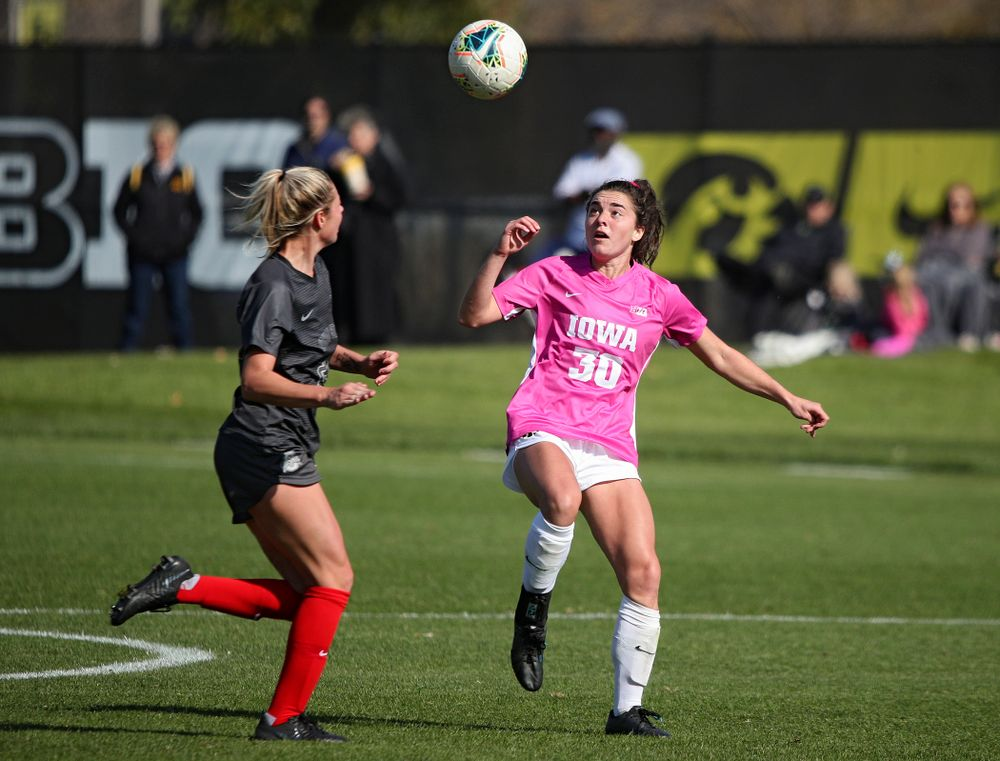 Iowa forward Devin Burns (30) eyes the ball during the first half of their match at the Iowa Soccer Complex in Iowa City on Sunday, Oct 27, 2019. (Stephen Mally/hawkeyesports.com)
