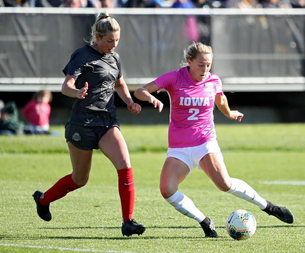 Iowa midfielder Hailey Rydberg (2) passes the ball during the second half of their match at the Iowa Soccer Complex in Iowa City on Sunday, Oct 27, 2019. (Stephen Mally/hawkeyesports.com)