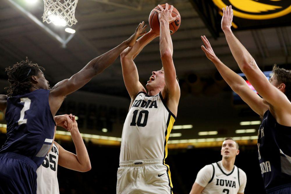 Iowa Hawkeyes guard Joe Wieskamp (10) against North Florida Thursday, November 21, 2019 at Carver-Hawkeye Arena. (Brian Ray/hawkeyesports.com)