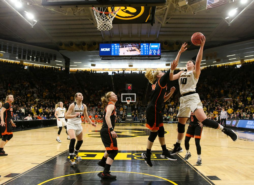 Iowa Hawkeyes forward Megan Gustafson (10) puts up a shot during the first round of the 2019 NCAA Women's Basketball Tournament at Carver Hawkeye Arena in Iowa City on Sunday, Dec. 31, 2000. (Stephen Mally for hawkeyesports.com)