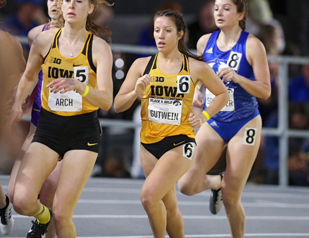 Iowa's Maggie Gutwein runs the women's 1 mile run event at the Black and Gold Invite at the Recreation Building in Iowa City on Saturday, February 1, 2020. (Stephen Mally/hawkeyesports.com)
