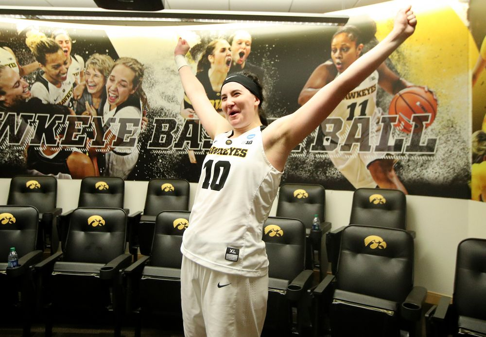 Iowa Hawkeyes forward Megan Gustafson (10) reacts after winning their game during the first round of the 2019 NCAA Women's Basketball Tournament at Carver Hawkeye Arena in Iowa City on Friday, Mar. 22, 2019. (Stephen Mally for hawkeyesports.com)