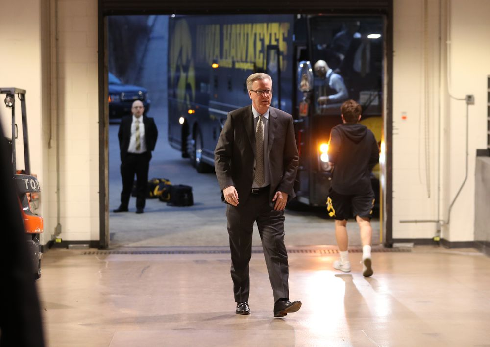 Iowa Hawkeyes head coach Fran McCaffery arrives for their game against the Illinois Fighting Illini in the 2019 Big Ten Men's Basketball Tournament Thursday, March 14, 2019 at the United Center in Chicago. (Brian Ray/hawkeyesports.com)