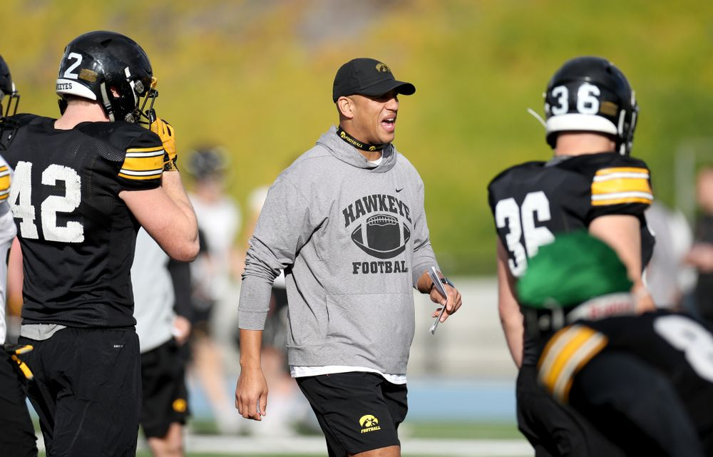 Iowa Hawkeyes special teams coordinator LeVar Woods  runs a drill during Holiday Bowl Practice No. 3  Tuesday, December 24, 2019 at San Diego Mesa College. (Brian Ray/hawkeyesports.com)
