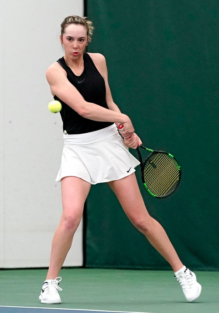 Iowa's Samantha Mannix during their doubles match against Indiana at the Hawkeye Tennis and Recreation Complex in Iowa City on Sunday, Mar. 31, 2019. (Stephen Mally/hawkeyesports.com)