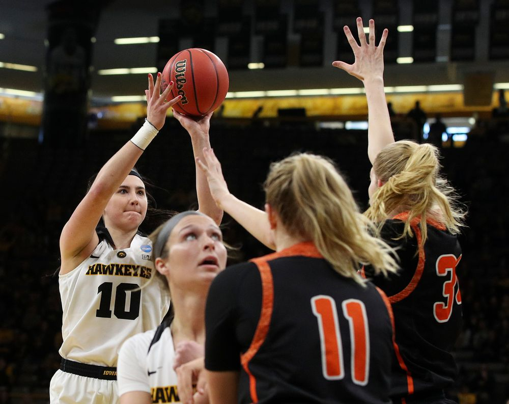 Iowa Hawkeyes forward Megan Gustafson (10) makes a basket during the first round of the 2019 NCAA Women's Basketball Tournament at Carver Hawkeye Arena in Iowa City on Friday, Mar. 22, 2019. (Stephen Mally for hawkeyesports.com)