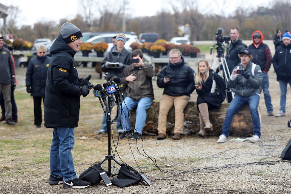 Iowa Wrestling Head Coach Tom Brands answers questions from reporters during the teamÕs annual media day Wednesday, October 30, 2019 at Kroul Family Farms in Mount Vernon. (Brian Ray/hawkeyesports.com)