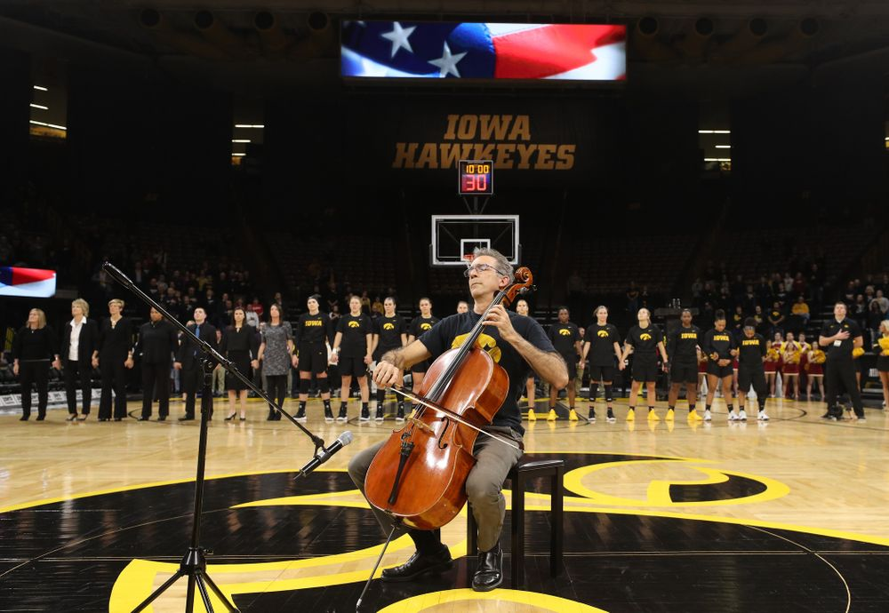 The National Anthem before the Iowa Hawkeyes game against the Iowa State Cyclones in the Iowa Corn Cy-Hawk Series Wednesday, December 5, 2018 at Carver-Hawkeye Arena. (Brian Ray/hawkeyesports.com)