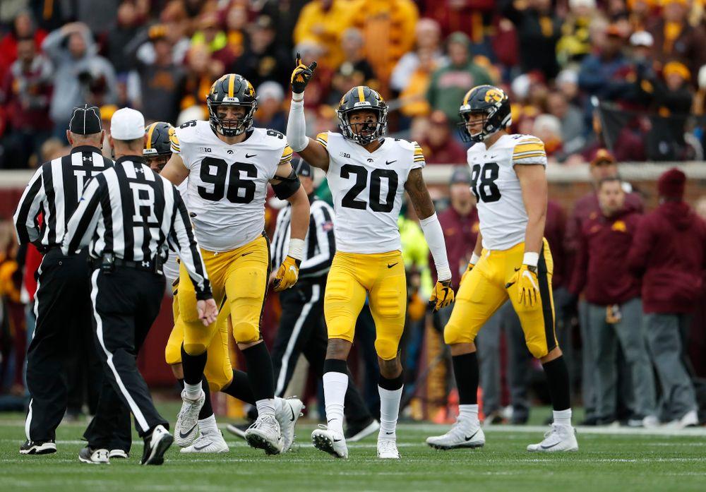 Iowa Hawkeyes defensive back Julius Brents (20) against the Minnesota Golden Gophers Saturday, October 6, 2018 at TCF Bank Stadium. (Brian Ray/hawkeyesports.com)