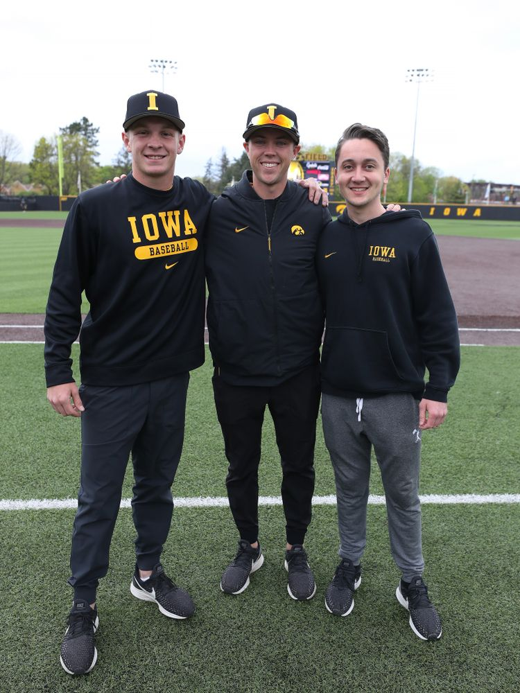 Student managers Ryan Gorman, Jake Stone, and Sam Bornstein before their game against Michigan State Sunday, May 12, 2019 at Duane Banks Field. (Brian Ray/hawkeyesports.com)