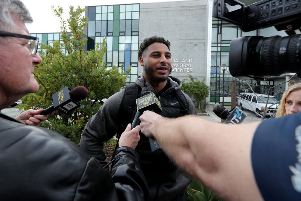 Iowa Hawkeyes defensive back Geno Stone (9) answers questions from reporters following Holiday Bowl Practice No. 3  Tuesday, December 24, 2019 at San Diego Mesa College. (Brian Ray/hawkeyesports.com)