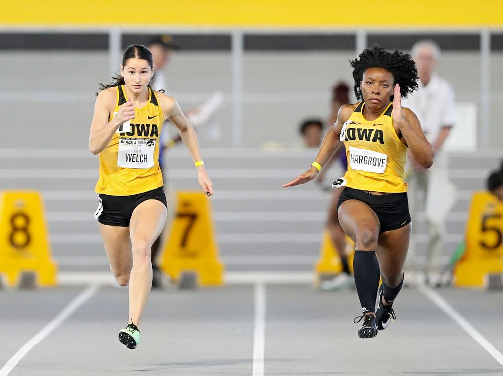 Iowa's Kylie Welch (from left) and Lasarah Hargrove run the women's 60 meter dash event at the Black and Gold Invite at the Recreation Building in Iowa City on Saturday, February 1, 2020. (Stephen Mally/hawkeyesports.com)