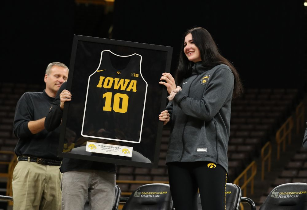 Henry B. and Patricia B. Tippie Director of Athletics Chair announces that the jersey of Iowa Hawkeyes forward Megan Gustafson (10) will be retired at a ceremony next season during the teamÕs Celebr-Eight event Wednesday, April 24, 2019 at Carver-Hawkeye Arena. (Brian Ray/hawkeyesports.com)